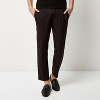 River Island Mens Dark Red Houndstooth Skinny Crop Trousers