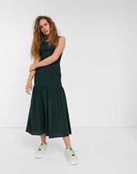 Weekday Josephine Shirred Midi Dress In Dark Green