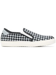 Bottega Veneta Nero Arctic Calf Bv Checker Slip On Black