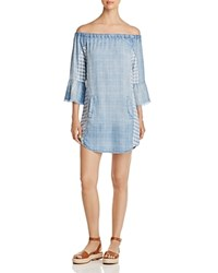 Billy T Off The Shoulder Chambray Dress Blue Mixed Media