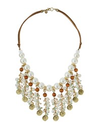 Lydell Nyc Golden Pearly Beaded Bib Necklace Multi