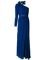 Elie Saab One Shoulder Gown Silk Polyamide Blue