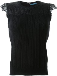 Guild Prime Cable Knit Lace Panel Tank Top Black