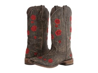 Roper Brush Off Flower Embroidered Square Toe Boot Brown Red Cowboy Boots