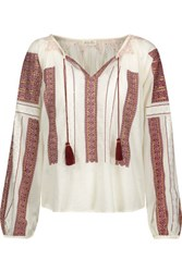 Loveshackfancy Lou Embroidered Sequin Embellished Cotton Voile Blouse Cream