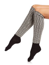 Natori Legwear Mikado Knee High Socks Black Dark Grey Heather