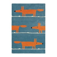 Scion Mr Fox Rug Denim Blue Orange