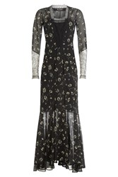 Etro Floor Length Printed Silk Gown Black