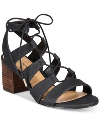 Call It Spring Ereissa Block Heel Lace Up Sandals Women's Shoes Black