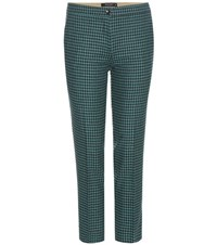Etro Cropped Wool Blend Trousers Green