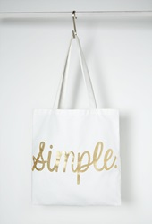Forever 21 Simple Graphic Canvas Tote White Gold
