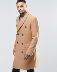 Asos Wool Mix Double Breasted Overcoat In Camel Camel Tan
