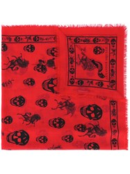 Alexander Mcqueen Skul And Badge Scarf Men Silk Wool One Size Red