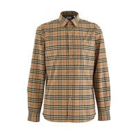 Burberry Small Scale Check Stretch Cotton Shirt Archive Beige Ip Chk