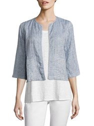 Eileen Fisher Quilted Organic Cotton And Organic Linen Jacket Chambray