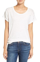 Current Elliott Women's 'The Crew Neck' Linen And Cotton Tee Dirty White W Rhinestones
