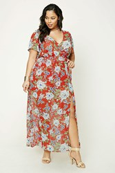 Forever 21 Plus Size Floral Maxi Dress Red Blue