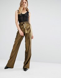 Gestuz Gold Lame Wide Leg Pants Gold