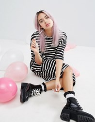 Monki Stripe Pocket T Shirt Dress Stripe Multi