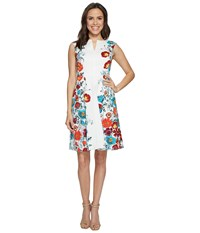 Adrianna Papell Side Panel Floral Printed Jacquard Fit And Flare Dress Red Multi Women's Dress