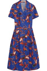 Clements Ribeiro Astrid Printed Cotton And Silk Blend Twill Dress Blue