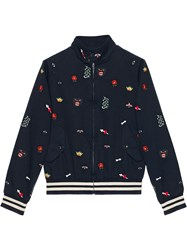 Gucci Embroidered Cotton Bomber Jacket Blue