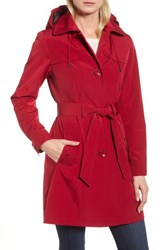 Gallery Belted Trench Raincoat Ruby