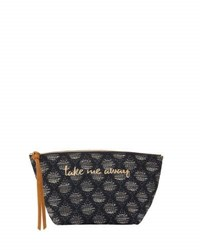 Neiman Marcus Take Me Away Fabric Cosmetic Pouch Navy