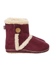 Totes Suedette Boot With Tab Button Detail Berry