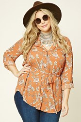 Forever 21 Plus Size Floral Print Tunic Rust Peach