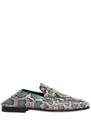 Isabel Marant 10Mm Feezy Embossed Python Loafers Grey Green Blue
