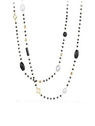 David Yurman Bead Necklace With Black Onyx And Gray Pearl In Gold Silver Gold