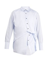 Wooyoungmi Gathered Double Layered Cotton Shirt Blue