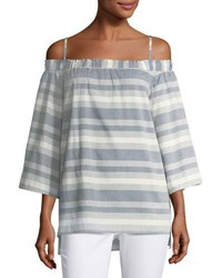 Tahari By Arthur S. Levine Striped Off The Shoulder Blouse Blue White