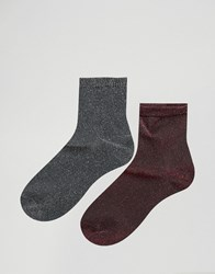 Asos 2 Pack Glitter Ankle Socks Multi