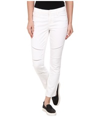 Dkny Ladder Lace Ave B Ultra Skinny Crop Moto In White White Women's Jeans