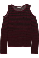 Rag And Bone Brenna Striped Open Knit Cotton Mesh Top Burgundy