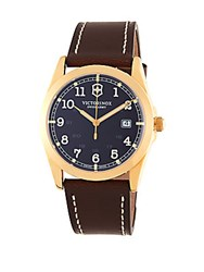 Victorinox Infantry Goldtone And Leather Watch Brown
