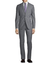 Neiman Marcus Two Button Sharkskin Two Piece Suit Gray