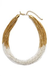 Tasha Seed Bead Multistrand Short Necklace Silver Gold
