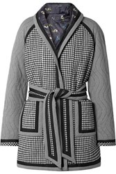 Opening Ceremony Reversible Belted Printed Woven And Satin Coat Black