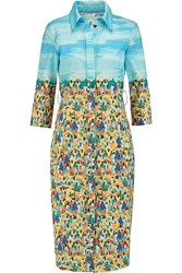 Stella Jean Printed Cotton Dress Blue