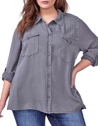 Addition Elle Love And Legend Solid Casual Button Down Shirt Black Pear