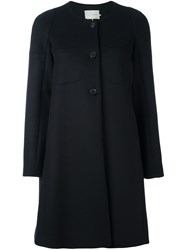 L'autre Chose Single Breasted Collarless Coat Black