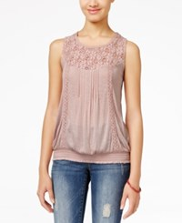 American Rag Lace Yoke Bubble Hem Tank Top Only At Macy's Pale Mauve
