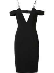 Jay Godfrey Off Shoulders Straps Fitted Dress Black