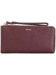 Dkny Wrist Strap Zipped Wallet Leather Red