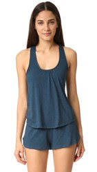 Eberjey Heather Racer Back Tank Petrol