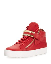 Giuseppe Zanotti Double Grid Leather Mid Top Sneakers Red