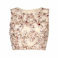 Raishma Blush Embroidered Crop Top Pink Purple